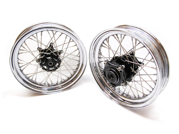 TT BOBBER 16 X 3.5 FRONT AND REAR, STAINLESS SPOKES AND NIPPLES, CHROME DIMPLED