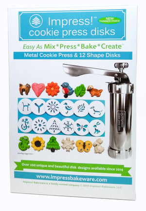 Impress! Metal Cookie Press and 12 Shape DIsks