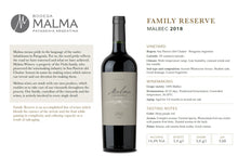 Load image into Gallery viewer, MALMA FAMILY RESERVE MALBEC 2018  PATAGONIA ARGENTINA Carton x 6 Bottles