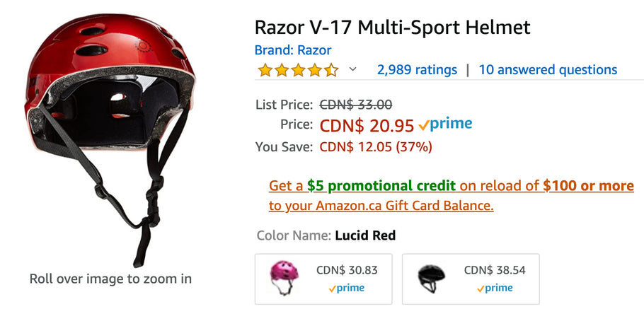 Amazon Canada Deals: Save 37% on Razor V-17 Multi-Sport Helmet + 63% on Barbie Lifeguard Doll + More Offers
