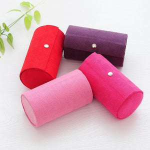 3 Tiers Jewelry Organizer Portable Compartment Cylinder Lint Roll Up Jewelry Box Case Holder