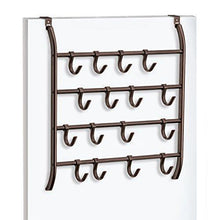 Load image into Gallery viewer, Save on lynk over door or wall mount scarf holder belt hat jewelry accessory hanger 16 hook organizer rack bronze