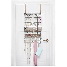 Load image into Gallery viewer, Top rated umbra isabella elegant beautiful bronze finish display over the door jewelry organizer holds over 250 pieces unique patented product features necklace hooks with linen bracelet bar and earring bar