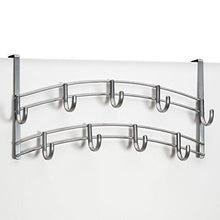 Load image into Gallery viewer, Products lynk over door accessory holder scarf belt hat jewelry hanger 9 hook organizer rack platinum