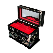 Load image into Gallery viewer, Discover the mother of pearl crane and pine tree in purple mulberry paper design wooden jewelry mirror trinket keepsake treasure gift asian lacquer box case chest organizer