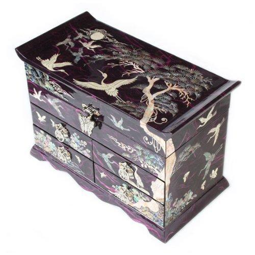 Discover mother of pearl crane and pine tree in purple mulberry paper design wooden jewelry mirror trinket keepsake treasure gift asian lacquer box case chest organizer