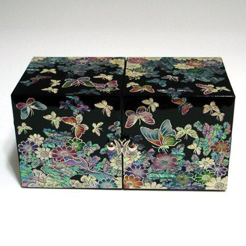 Online shopping mother of pearl black butterfly and flower design wooden twin cubic jewelry trinket keepsake treasure lacquer box case chest organizer