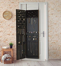 Load image into Gallery viewer, Shop for plaza astoria pa66bk wall mounted over the door super sized jewelry armoire storage cabinet with vanity full length dressing mirror black