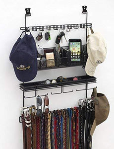 Longstem Men's #9200 Over the Door/Wall Belt Tie Valet Organizer - beautiful BLACK powder coat- see our #9100 5 star reviews! men's organizer Patented - Rated Best!