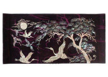 Load image into Gallery viewer, Exclusive mother of pearl crane and pine tree in purple mulberry paper design wooden jewelry mirror trinket keepsake treasure gift asian lacquer box case chest organizer