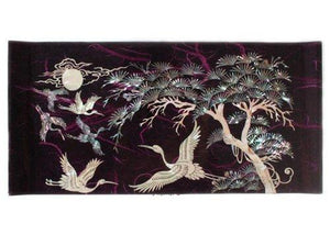 Exclusive mother of pearl crane and pine tree in purple mulberry paper design wooden jewelry mirror trinket keepsake treasure gift asian lacquer box case chest organizer