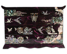 Load image into Gallery viewer, Discover the best mother of pearl crane and pine tree in purple mulberry paper design wooden jewelry mirror trinket keepsake treasure gift asian lacquer box case chest organizer