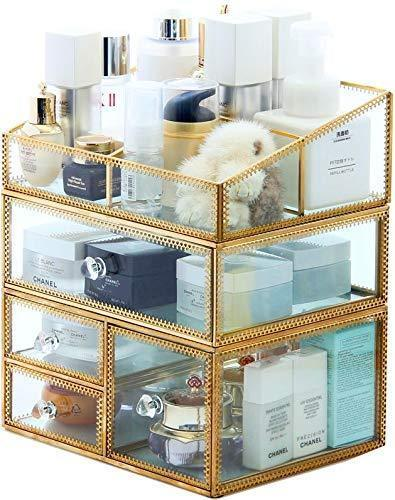 Shop here pengke x large gold makeup organizer clear jewelry and cosmetic storage case large capacity for beauty product organizer 4 drawer keep your vanity organized 10 5x8 1x12 5