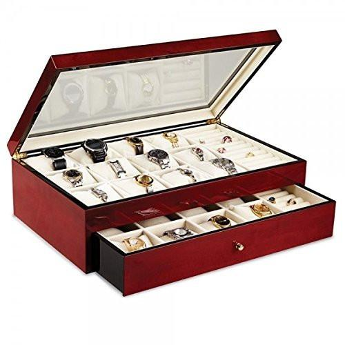 Cherry Finished Watch box & Jewelry Organizer - Glass Top - Large