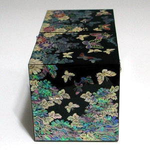 Order now mother of pearl black butterfly and flower design wooden twin cubic jewelry trinket keepsake treasure lacquer box case chest organizer