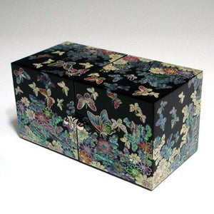 Results mother of pearl black butterfly and flower design wooden twin cubic jewelry trinket keepsake treasure lacquer box case chest organizer