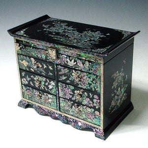 Buy now mother of pearl girls asian lacquer wooden black jewelry trinket keepsake treasure gift jewel ring drawer box chest case holder organizer with flower and bird design