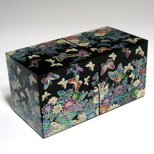 Organize with mother of pearl black butterfly and flower design wooden twin cubic jewelry trinket keepsake treasure lacquer box case chest organizer