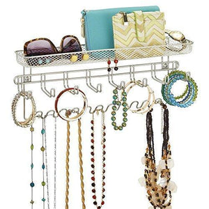 Buy duvtail decorative metal closet wall mount jewelry accessory organizer for storage of necklaces bracelets rings earrings sunglasses wallets