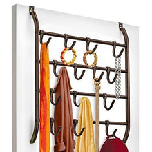 Load image into Gallery viewer, Save lynk over door or wall mount scarf holder belt hat jewelry accessory hanger 16 hook organizer rack bronze