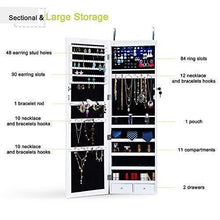 Load image into Gallery viewer, Storage homevibes jewelry cabinet jewelry armoire 6 leds mirrored makeup lockable door wall mounted jewelry organizer hanging storage mirror with 2 drawers white