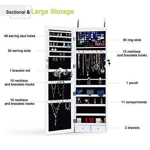 Storage homevibes jewelry cabinet jewelry armoire 6 leds mirrored makeup lockable door wall mounted jewelry organizer hanging storage mirror with 2 drawers white