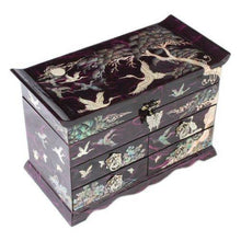 Load image into Gallery viewer, Explore mother of pearl crane and pine tree in purple mulberry paper design wooden jewelry mirror trinket keepsake treasure gift asian lacquer box case chest organizer