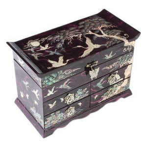 Explore mother of pearl crane and pine tree in purple mulberry paper design wooden jewelry mirror trinket keepsake treasure gift asian lacquer box case chest organizer