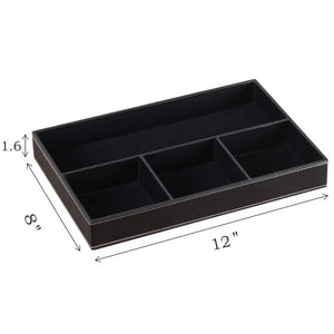 The best yapishi valet tray men nightstand organizer 4 compartments pu leather office table stationery storage box for key phone coin wallet jewelry glasses cosmetics business card pen watch note paper black
