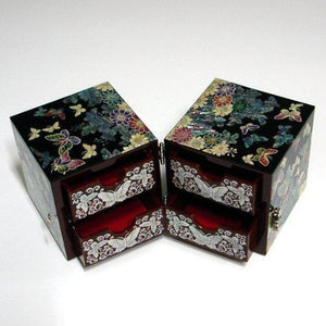 Purchase mother of pearl black butterfly and flower design wooden twin cubic jewelry trinket keepsake treasure lacquer box case chest organizer