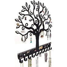Load image into Gallery viewer, Shop here angelynns jewelry organizer hanging earring holder wall mount necklace display rack storage branch rack tree of life black