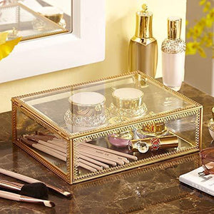 The best pengke x large gold makeup organizer clear jewelry and cosmetic storage case large capacity for beauty product organizer 4 drawer keep your vanity organized 10 5x8 1x12 5