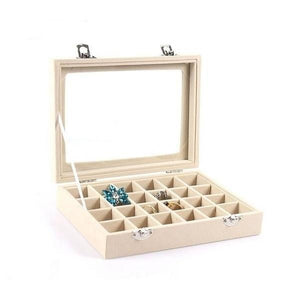 Jewelry Organizer Velvet Earring Display Glass Jewelry Ring Organizer Holder Storage Case 24 Slot Box
