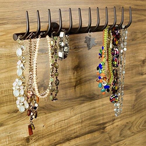 12-Hook Country Garden Rake Design Wall Mounted Metal Jewelry Storage Rack / Necklace Organizer, Brown