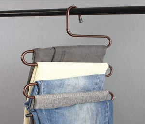 Discover durable pants hangers clothes organizer space saver storage rack for hanging jean trouser tie scarf belt jewelry clothing accessories brown pack 2