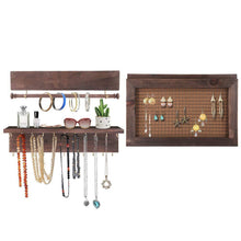 Load image into Gallery viewer, Latest surophy rustic brown wall mount jewelry organizer wall hanging jewelry display with removable bracelet rod from wooden wall mounted mesh jewelry organizer wooden earring bracelet holder for necklace