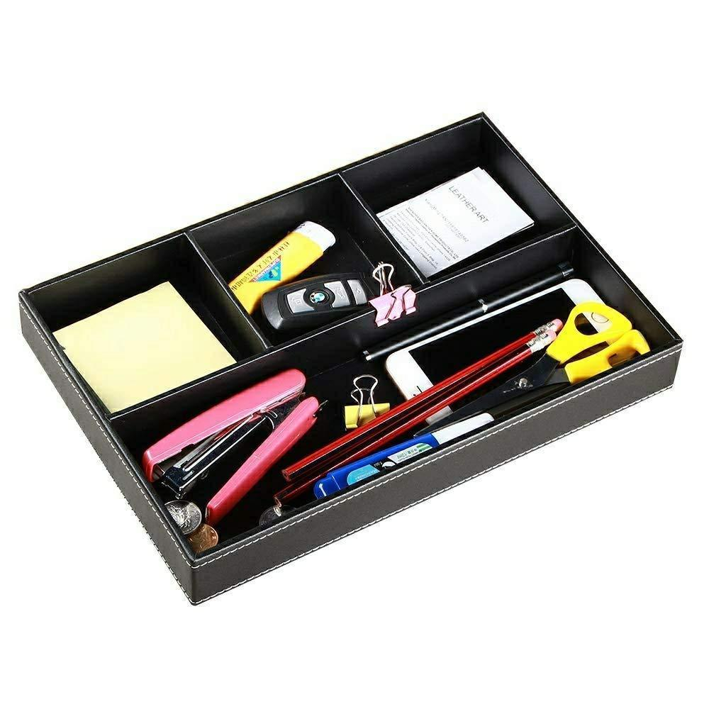 Shop for yapishi valet tray men nightstand organizer 4 compartments pu leather office table stationery storage box for key phone coin wallet jewelry glasses cosmetics business card pen watch note paper black