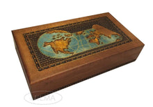 Load image into Gallery viewer, Save on world map box w detailed world globe motif handmade linden wood keepsake jewelry treasure collector box desktop office home wooden box desk accessory unique masterpiece great gift idea f business co workers family or friend made in poland