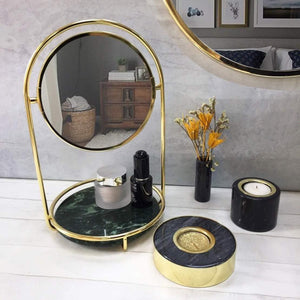 Shop bonmarb storage green marble table mirror vanity mirror with 1x2x magnfication mirror with jewelry storage mirror with cosmetic storage mirror with hair accessories storage coin tray with mirror