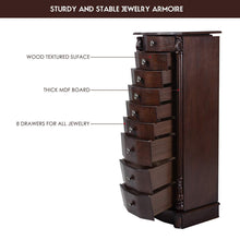 Load image into Gallery viewer, Results giantex large jewelry armoire cabinet with 8 drawers 2 swing doors 16 hooks top mirror boxes standing cambered front storage chest stand large standing jewelry armoire dark walnut