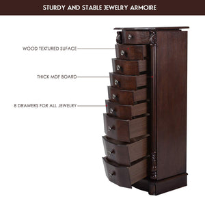 Results giantex large jewelry armoire cabinet with 8 drawers 2 swing doors 16 hooks top mirror boxes standing cambered front storage chest stand large standing jewelry armoire dark walnut