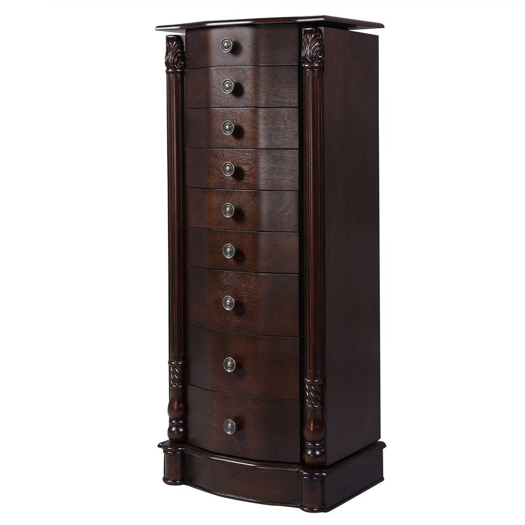 Organize with giantex large jewelry armoire cabinet with 8 drawers 2 swing doors 16 hooks top mirror boxes standing cambered front storage chest stand large standing jewelry armoire dark walnut