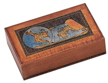 Load image into Gallery viewer, Results world map box w detailed world globe motif handmade linden wood keepsake jewelry treasure collector box desktop office home wooden box desk accessory unique masterpiece great gift idea f business co workers family or friend made in poland