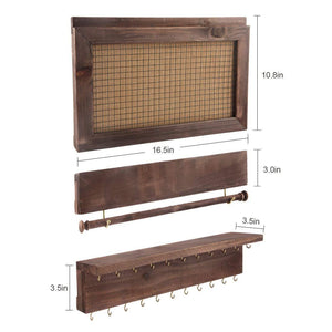 On amazon surophy rustic brown wall mount jewelry organizer wall hanging jewelry display with removable bracelet rod from wooden wall mounted mesh jewelry organizer wooden earring bracelet holder for necklace