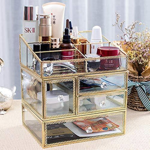 Top rated pengke x large gold makeup organizer clear jewelry and cosmetic storage case large capacity for beauty product organizer 4 drawer keep your vanity organized 10 5x8 1x12 5