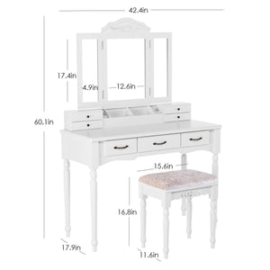 The best homecho makeup vanity table set removable tri folding mirror and 8 jewelry necklace hooks with 7 drawers and 6 makeup organizers dressing table with cushioned stool bedroom white color hmc md 011