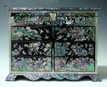 Load image into Gallery viewer, Discover mother of pearl girls asian lacquer wooden black jewelry trinket keepsake treasure gift jewel ring drawer box chest case holder organizer with flower and bird design