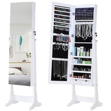 Load image into Gallery viewer, Best gissar jewelry organizer full length mirror jewelry cabinet standing wall mounted jewelry armoire storage with lights lockable white