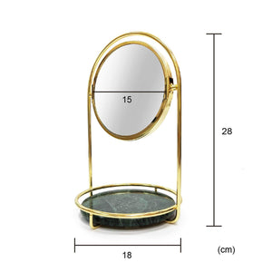Shop for bonmarb storage green marble table mirror vanity mirror with 1x2x magnfication mirror with jewelry storage mirror with cosmetic storage mirror with hair accessories storage coin tray with mirror
