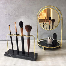 Load image into Gallery viewer, Selection bonmarb storage green marble table mirror vanity mirror with 1x2x magnfication mirror with jewelry storage mirror with cosmetic storage mirror with hair accessories storage coin tray with mirror